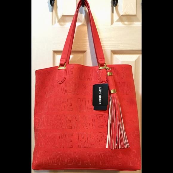 c85f235795 Steve Madden Bags | Coral Bsaylor Logo Tote Makeup Bag | Poshmark